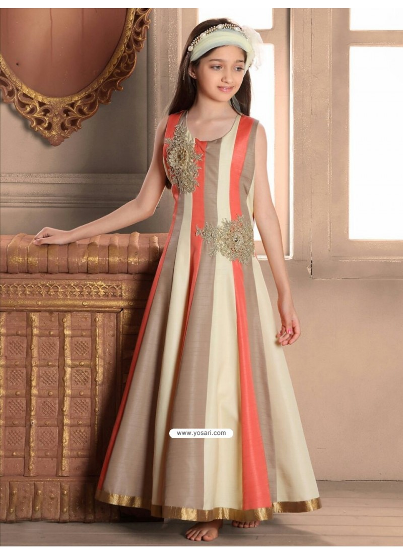 Buy Festive Orange Banasari silk Gown   Gown For Girls