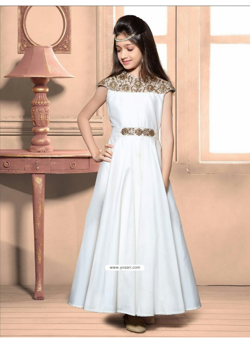Buy Awesome White Taffeta Silk Gown | Gown For Girls