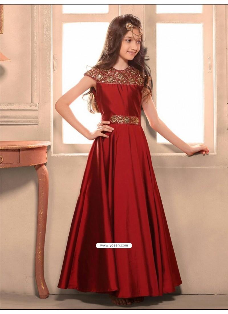 Buy Scintillating Maroon Taffeta Silk Gown Gown For Girls