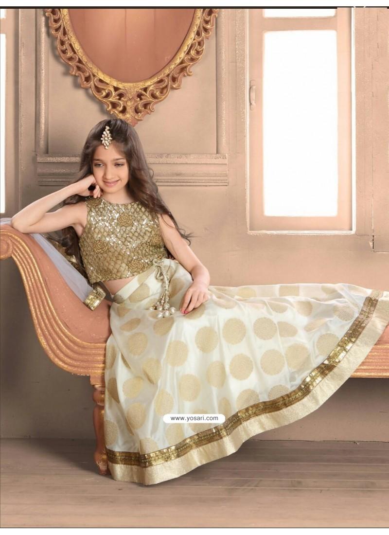 Buy Golden Banarasi N Brocade Skirt Top Indowestern