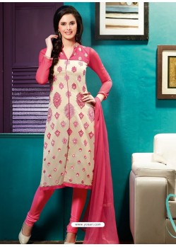 Pink And Cream Chanderi Churidar Suit