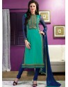 Blue And Green Chanderi Churidar Suit