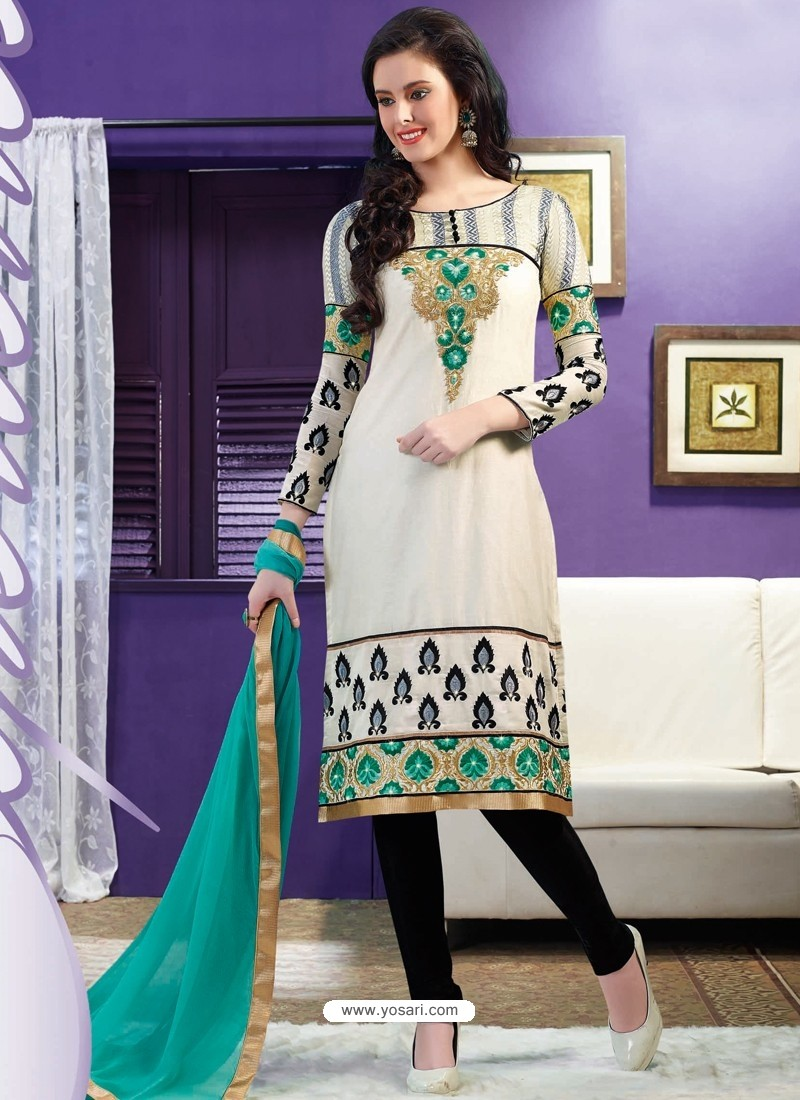 Grey And Black Chanderi Churidar Suit