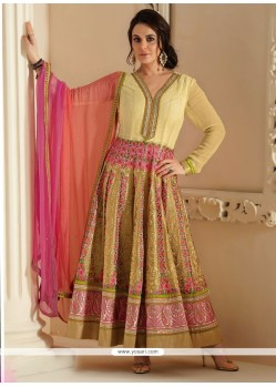 Cream Faux Georgette Anarkali Suit