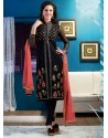 Black Chanderi Churidar Suit