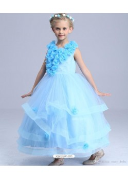 Festive Sky Blue Floor Length Gown