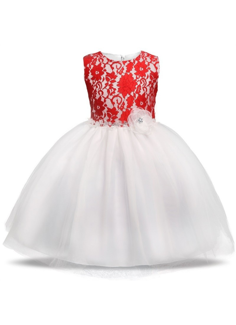 Buy Groovy Red -White Evening Gown | Gown For Girls