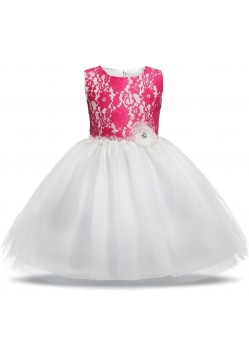 Glossy Pink-White Evening Gown