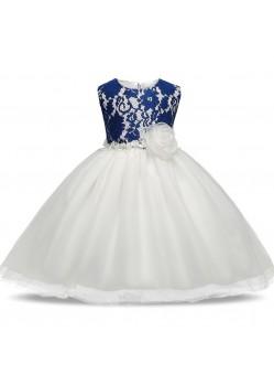 Flattering Blue-White Floor Length Gown