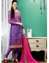 Purple Chanderi Churidar Suit