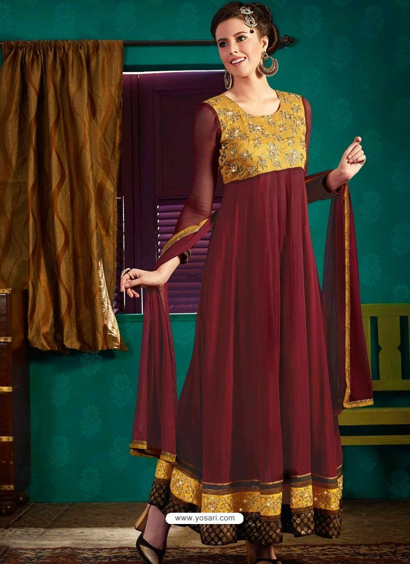 Mustard And Maroon Georgette Anarkali Suit