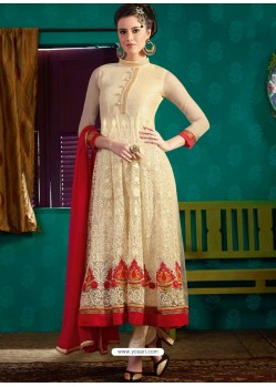 Cream And Red Georgette Anarkali Suit