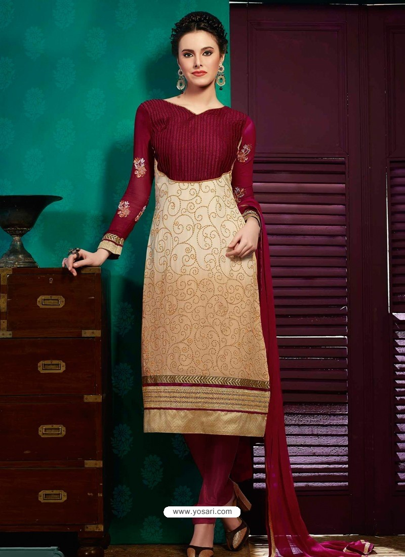 Maroon And Cream Georgette Churidar Suit