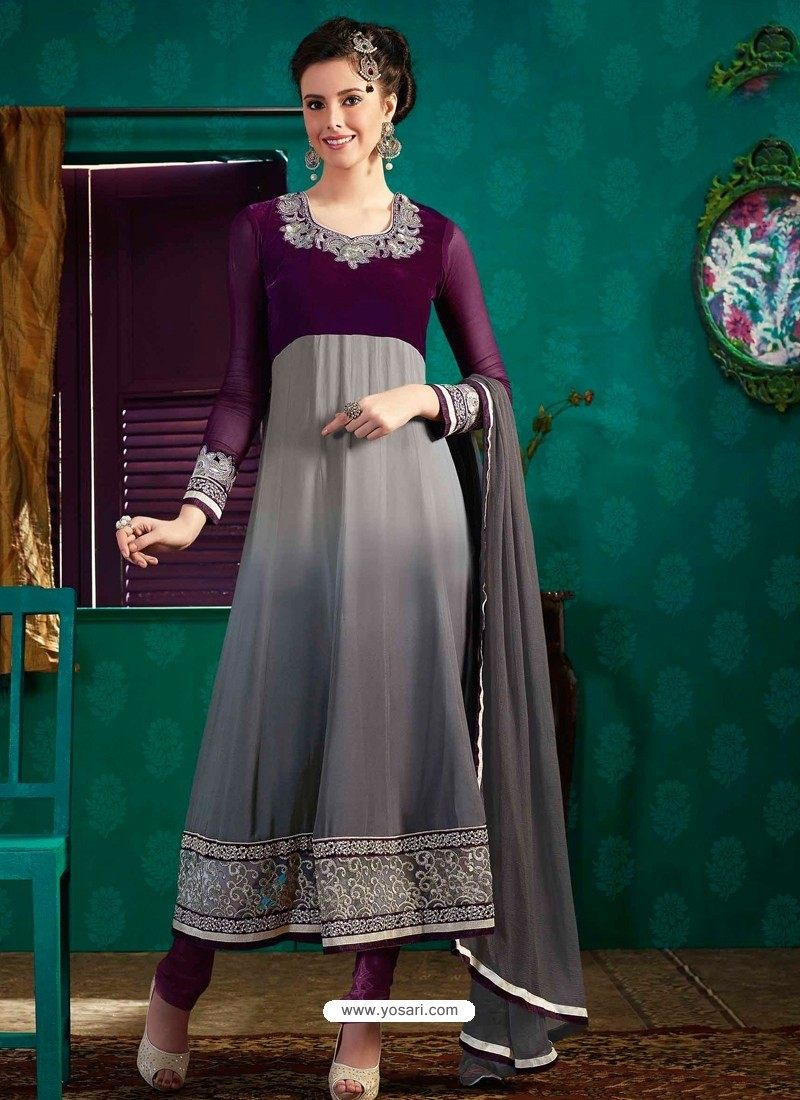 Grey Georgette Anarkali Suit