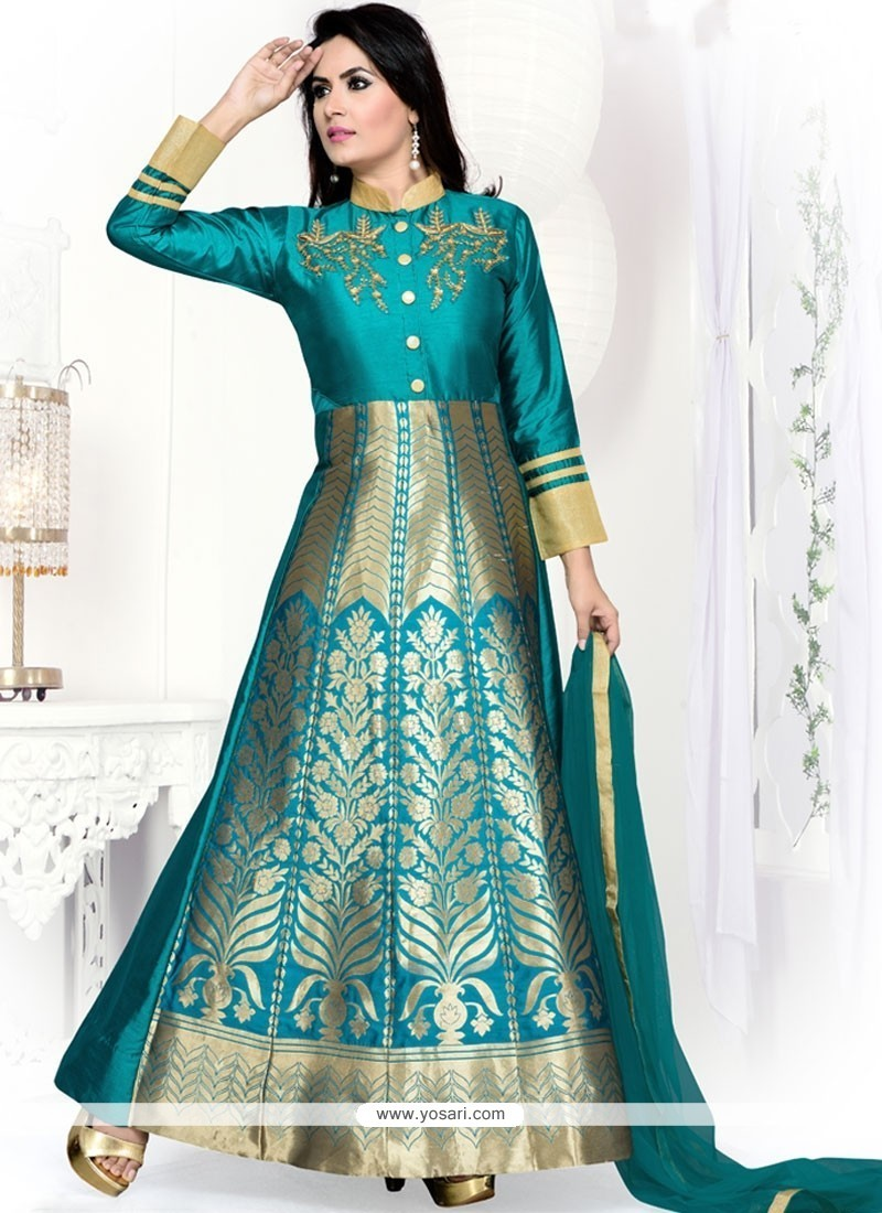 Buy Exceeding Blue Embroidered Work Readymade Suit | Wedding Suits