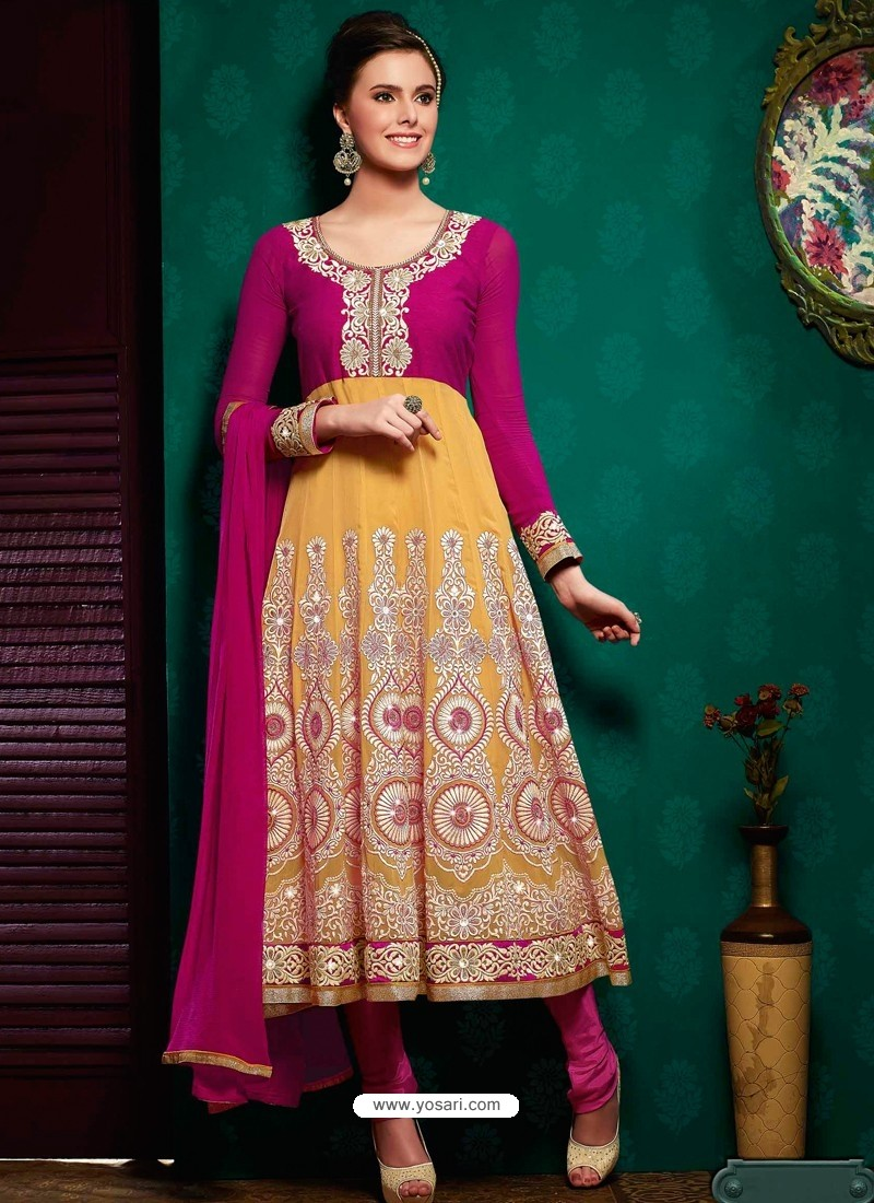 Pink And Mustard Georgette Anarkali Suit
