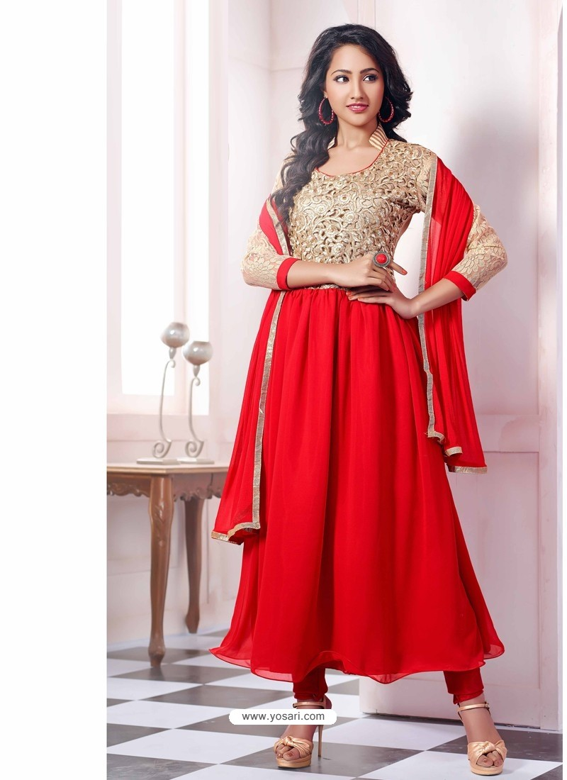 Red Georgette with Zari Work Anarkali Suit
