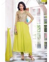 Green Georgette with Zari Work Anarkali Suit