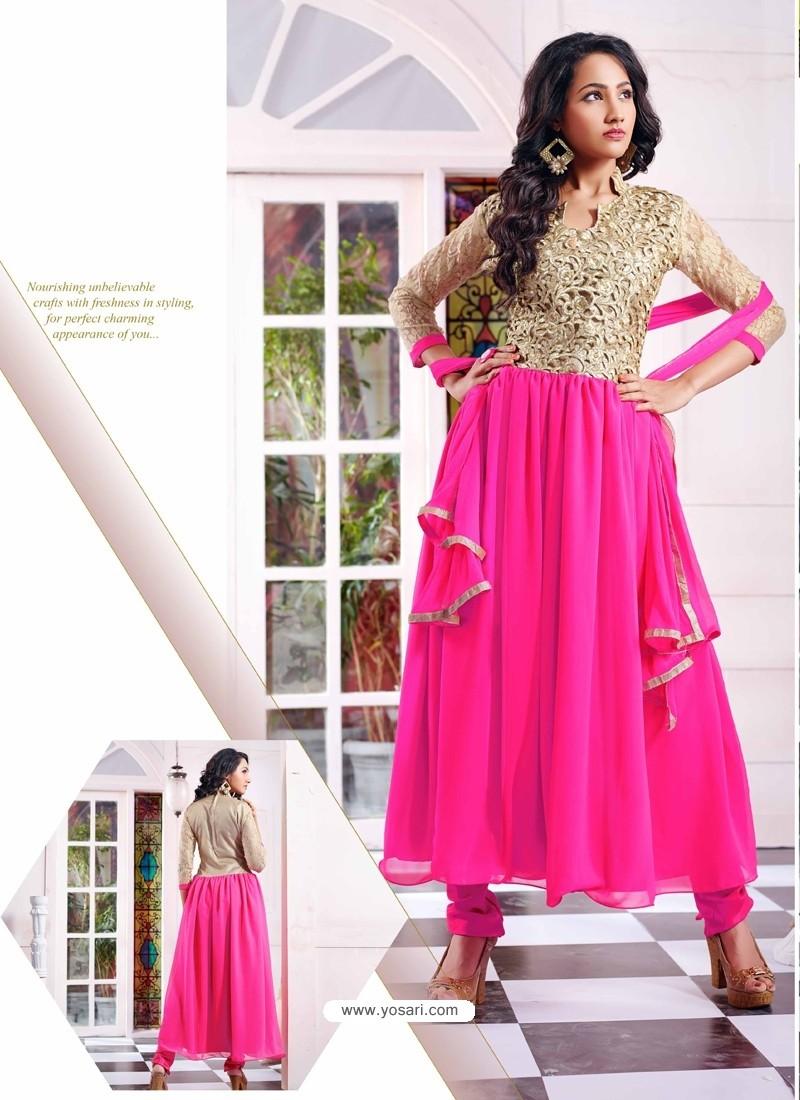 Pink Georgette with Zari Work Anarkali Suit