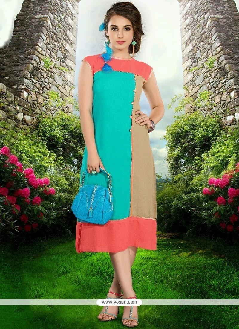 Buy Beautiful Plain Work Faux Georgette Party Wear Kurti | Party ...