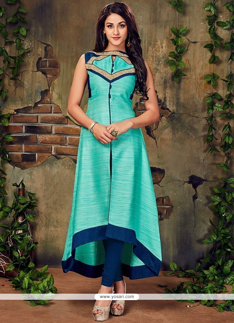 Buy Picturesque Turquoise Art Silk Designer Kurti | Party Wear Kurtis