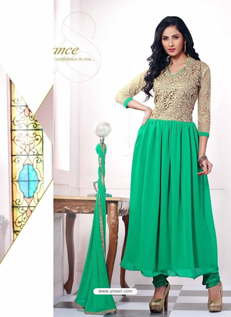 Green Georgette with Zari Work Anarkali Suit