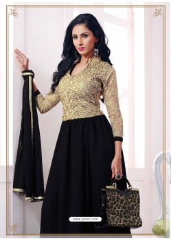 Black Georgette with Zari Work Anarkali Suit