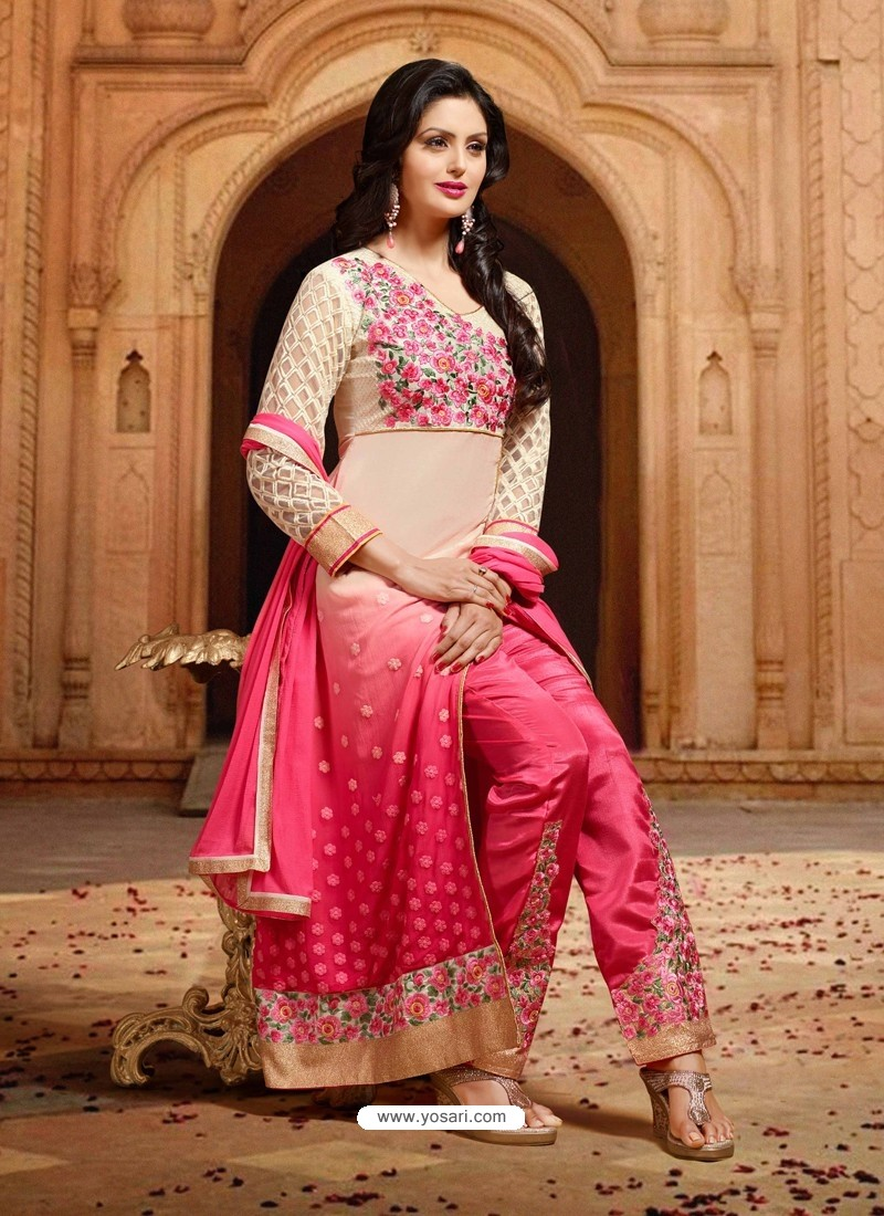 Cream And Pink Georgette Designer Salwar Suit