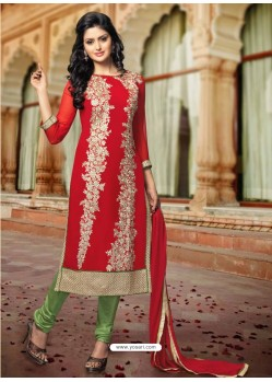 Red And Green Georgette Punjabi Suit