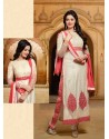 Cream And Pink Georgette Punjabi Suit