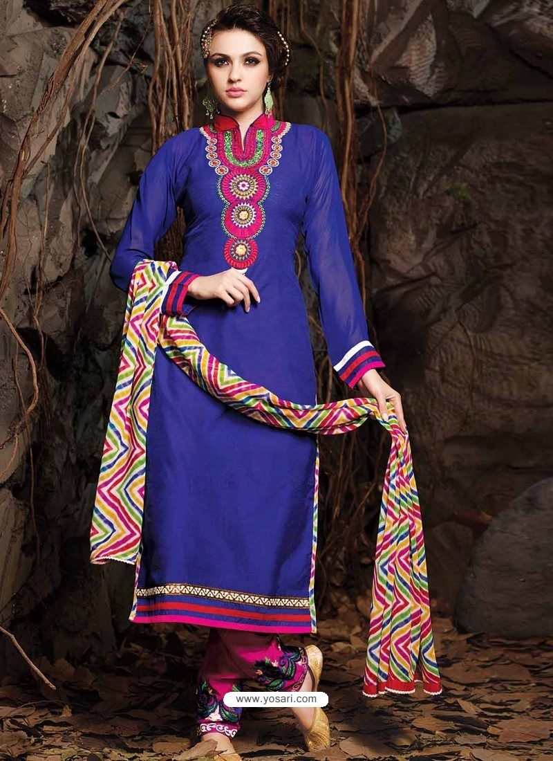 Blue And Pink Chanderi Party wear suit