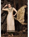 Cream And Brown Chanderi Party wear suit