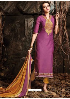 Mustard And Meganta Chanderi Party wear suit