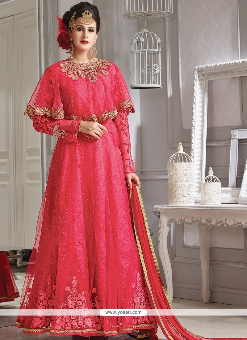 Buy desirable lace work designer floor length suit for Floor length suits