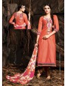 Orange And Brown Chanderi Party wear suit