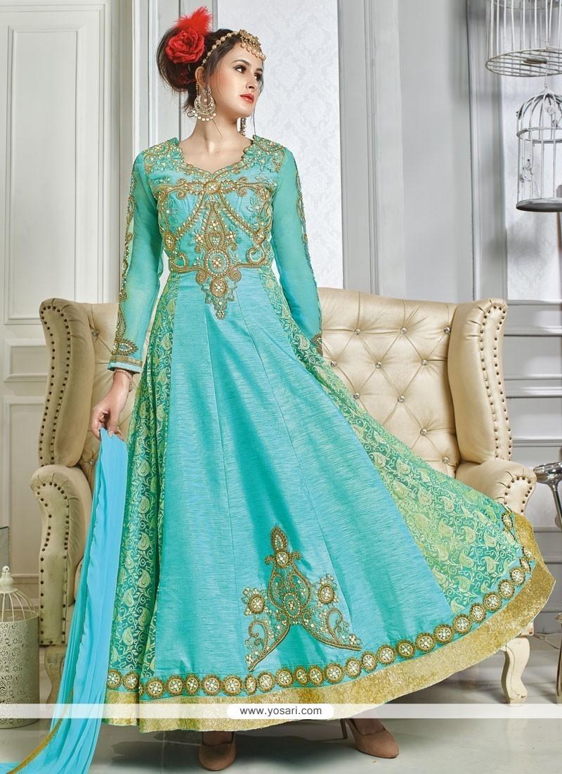 Buy Royal Embroidered Work Turquoise Art Silk Designer Floor Length ...