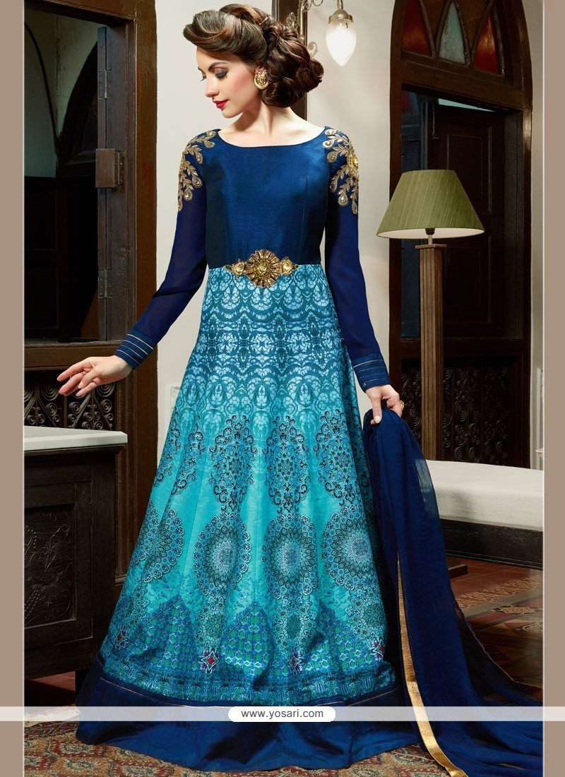 Buy Blue Art Silk Floor Length Anarkali Salwar Suit | Anarkali Suits