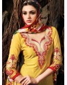 Yellow And Blue Chanderi Party wear suit