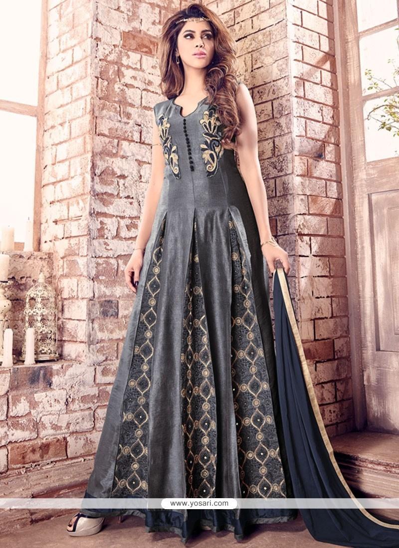d6341eb86 Stylish Banarasi Silk Embroidered Work Designer Floor Length Salwar Suit
