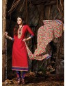 Red Chanderi Party wear suit