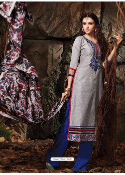 Grey And Blue Chanderi Party wear suit