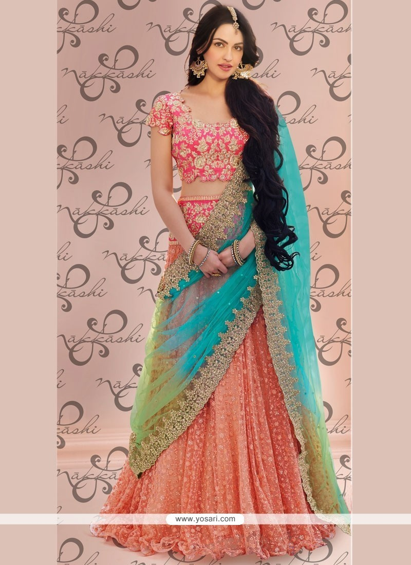 285a50ff95 Buy Lovable Resham Work Peach Net Lehenga Choli | Bridal Lehenga Choli
