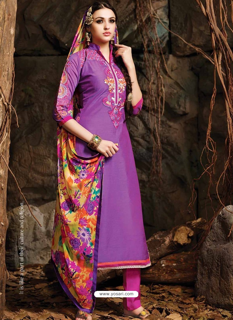 Purple And Pink Chanderi Party wear suit