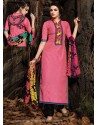 Pink And Black Chanderi Party wear suit