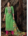 Green And Pink Chanderi Party wear suit