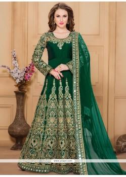 Enthralling Green Tafeta Silk Designer Floor Length Suit