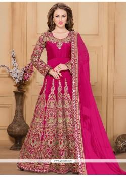 Captivating Embroidered Work Tafeta Silk Hot Pink Designer Floor Length Suit