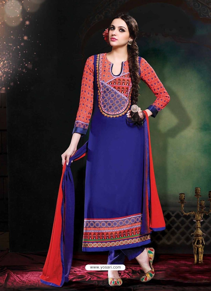 Blue And Red Georgette Punjabi Suit