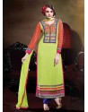 Green And Red Georgette Punjabi Suit