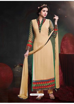 Cream And Green Georgette Punjabi Suit